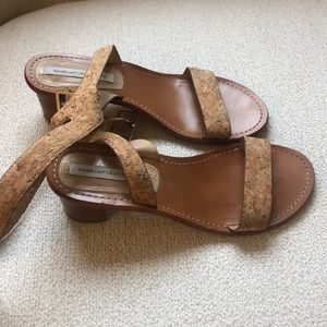 DVF a really cork sandals 7.5 great condition!